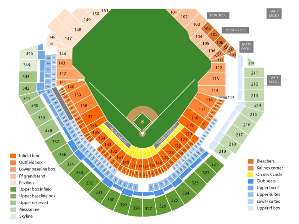 Tigers stadium seat chart ibov jonathandedecker com